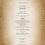 Okładka tylna kalendarza, zawierająca spis restauracji w których serwowane są potrawy.